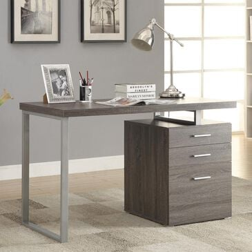 Pacific Landing Hilliard Writing Desk with File Drawer in Weathered Grey, , large