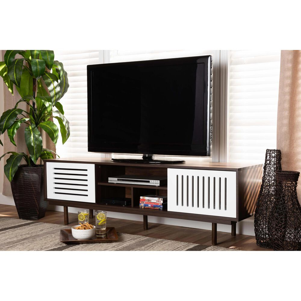 """Baxton Studio Meike 63"""" TV Stand in Walnut and White, , large"""