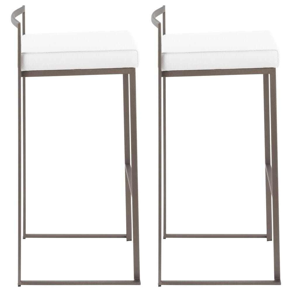 Lumisource Fuji Stackable Barstool in White/Antique (Set of 2), , large