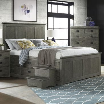 Hawthorne Furniture Oak Park King Panel Bed with 9-Drawer Storage in Pewter, , large