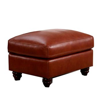 Sienna Designs Leather Ottoman in Chestnut - Ottoman Only, , large