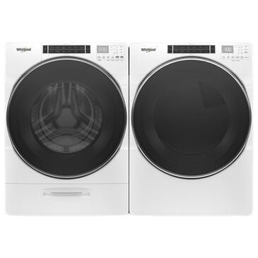 Whirlpool 5.0 Cu. Ft. Front Load Washer and 7.4 Cu. Ft. Electric Dryer Pair in White, White, large
