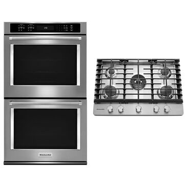 """Whirlpool 10 Cu. Ft. Double Wall Oven with Even-Heat True Convection and 30"""" 5-Burner Gas Cooktop in Stainless Steel, , large"""