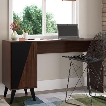 Dayton Hogan 2-Shelf Office Desk in Dark Brown, , large