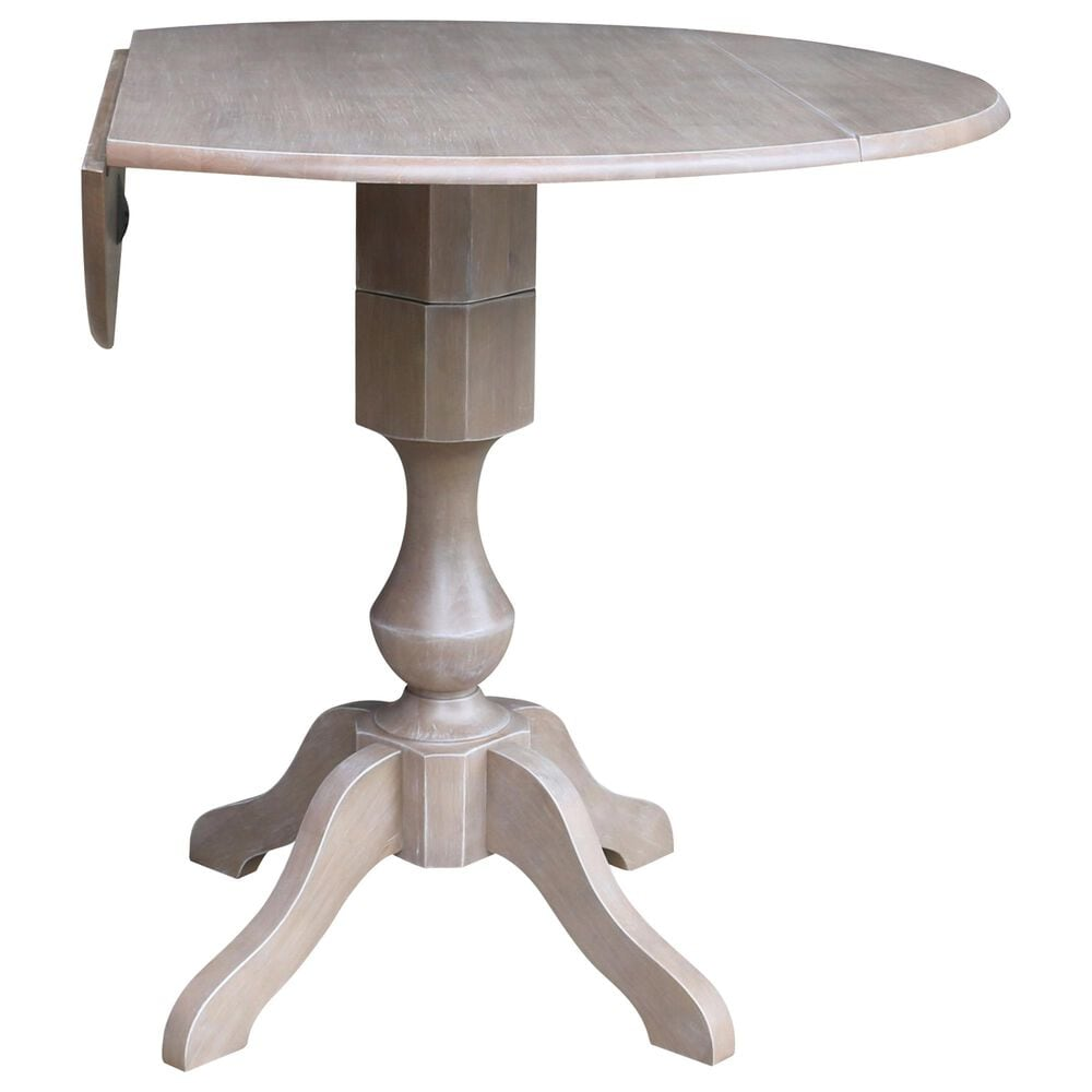 """International Concepts 42"""" Modern Farmhouse Round Casual Drop Leaf Dining Table in Washed Gray Taupe, , large"""