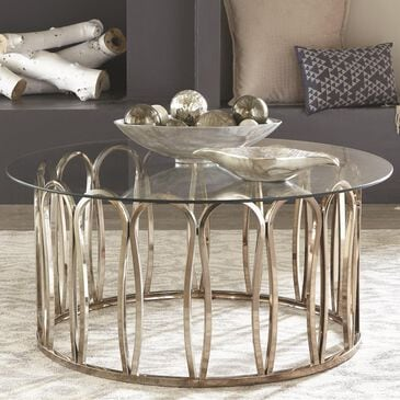 Scott Living Round Cocktail Table in Chocolate Chrome, , large