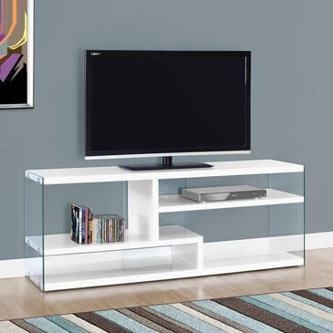 "Monarch Specialties 60"" TV Stand with Tempered Glass in Glossy White, , large"
