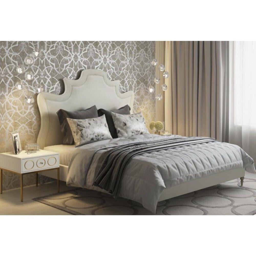 Tov Furniture Serenity Queen Velvet Bed in Cream, , large