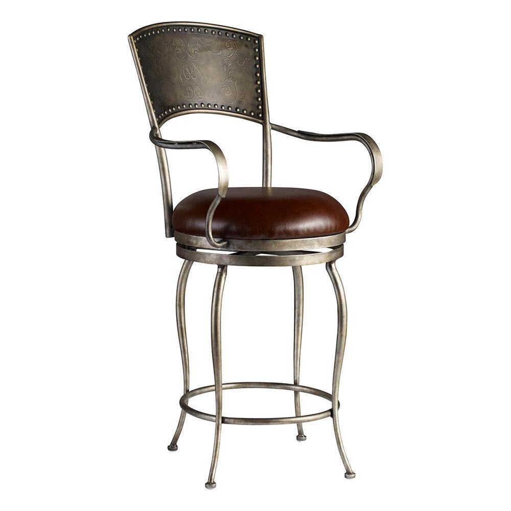 Hooker Furniture Decorator Metal Barstool with Brown Seat, , large