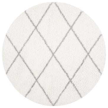Safavieh Parma Shag PMA515A 9' Round Cream and Grey Area Rug, , large