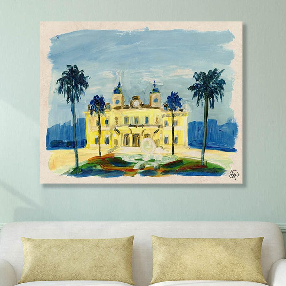 "Kathy Ireland Home ""Monte Carlo Casino"" 20"" x 30"" Metal Wall Art Print, , large"