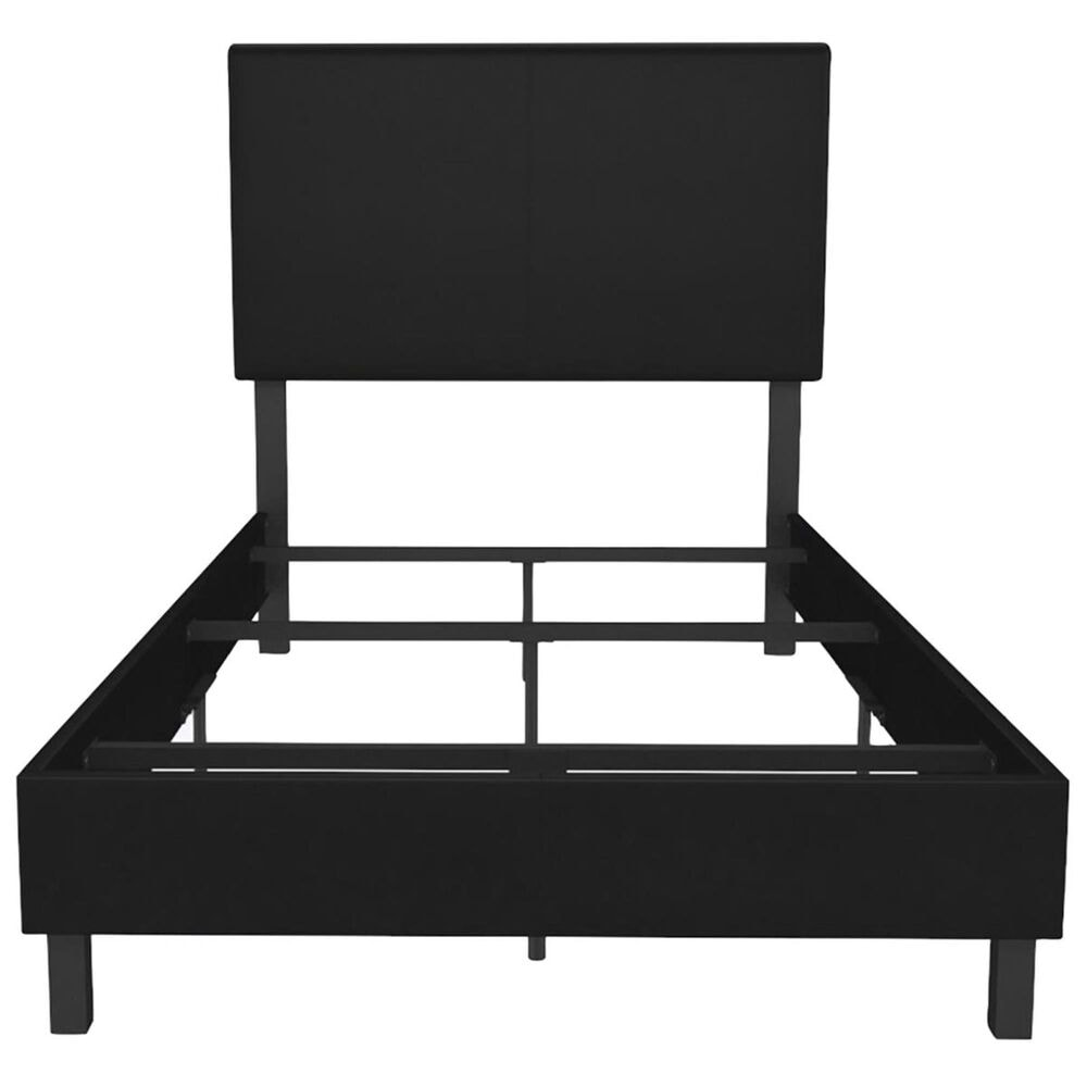 DHP Janford Twin Upholstered Bed in Black Faux Leather, , large