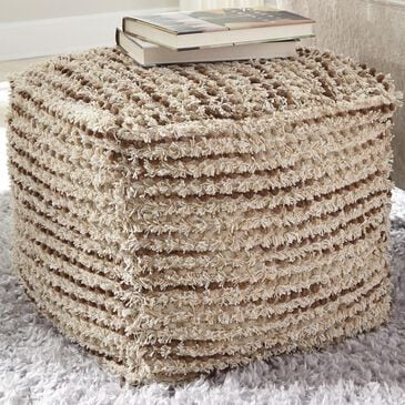 Signature Design by Ashley Jorge Pouf in Brown and Cream, , large