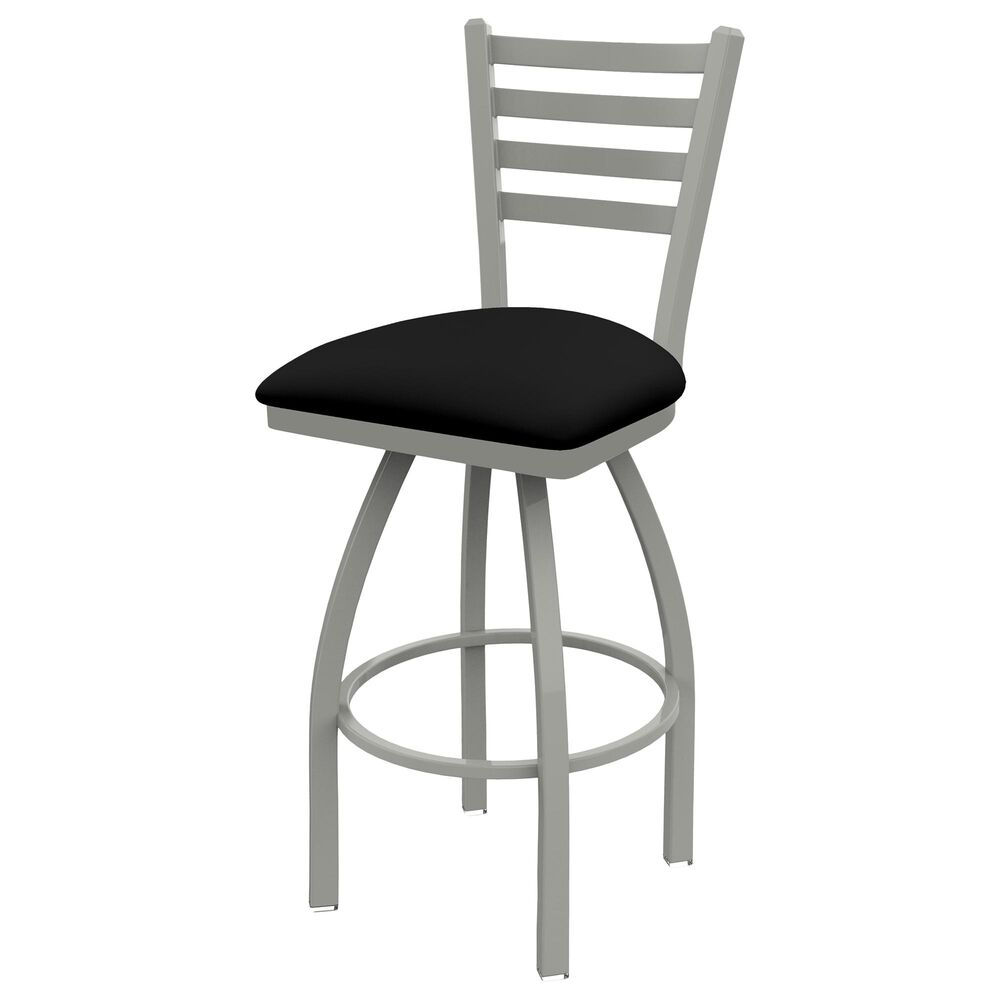 """Holland Bar Stool 410 Jackie 30"""" Swivel Bar Stool with Anodized Nickel and Black Vinyl Seat, , large"""