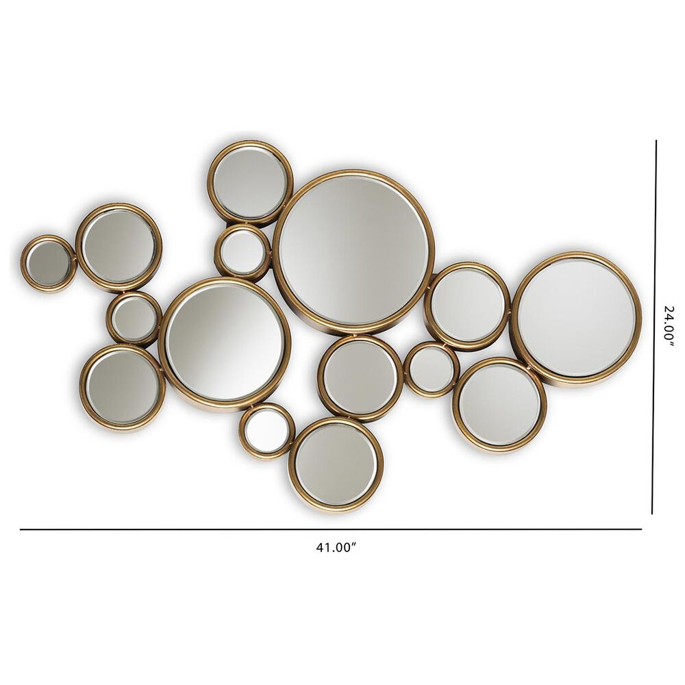 Baxton Studio Cassiopeia Accent Wall Mirror in Antique Gold, , large