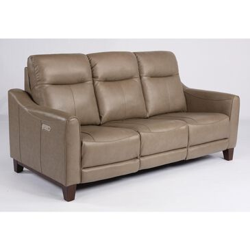 Flexsteel Forte Leather Power Reclining Sofa with Power Headrest in Mushroom, , large