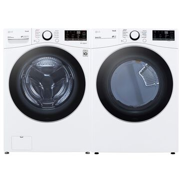 LG 4.5 Cu. Ft. Front Load Washer with Steam and 7.4 Cu. Ft. Electric Dryer Laundry Pair in White, , large