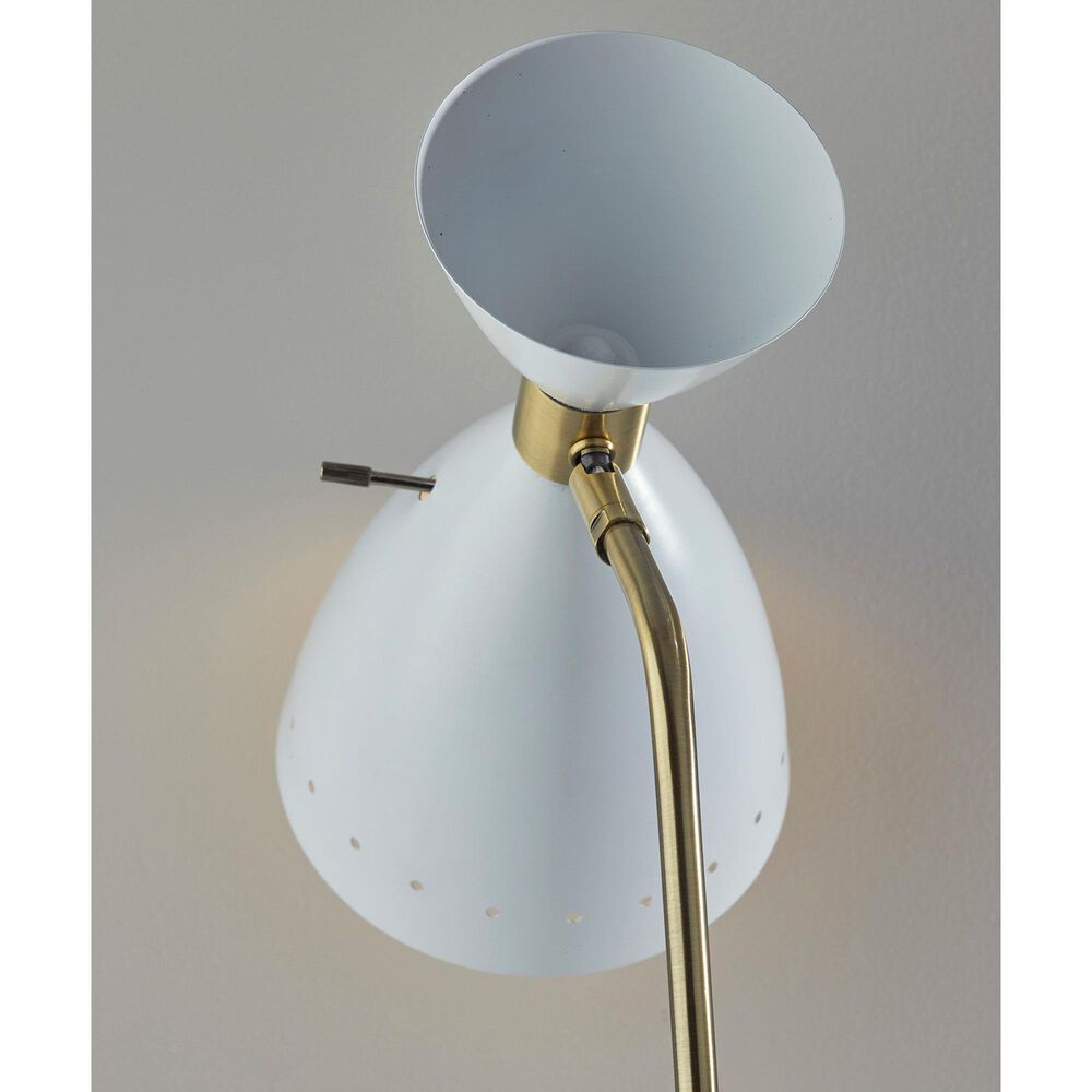Adesso Oscar Floor Lamp in White and Antique Brass, , large
