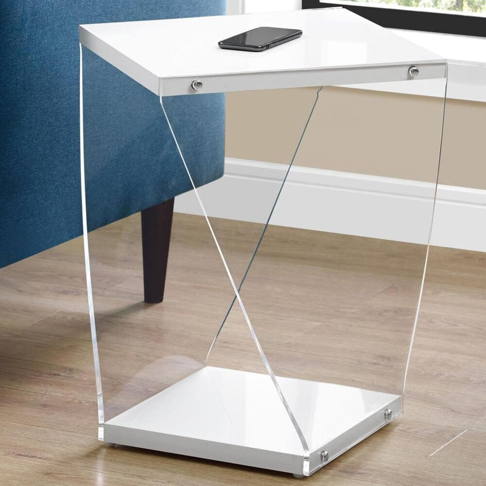 """Monarch Specialties 22"""" Accent Table in Glossy White, , large"""