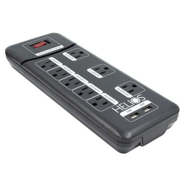 Helios 8 Outlet Surge Protected Power Strip with 2 USB Ports, , large
