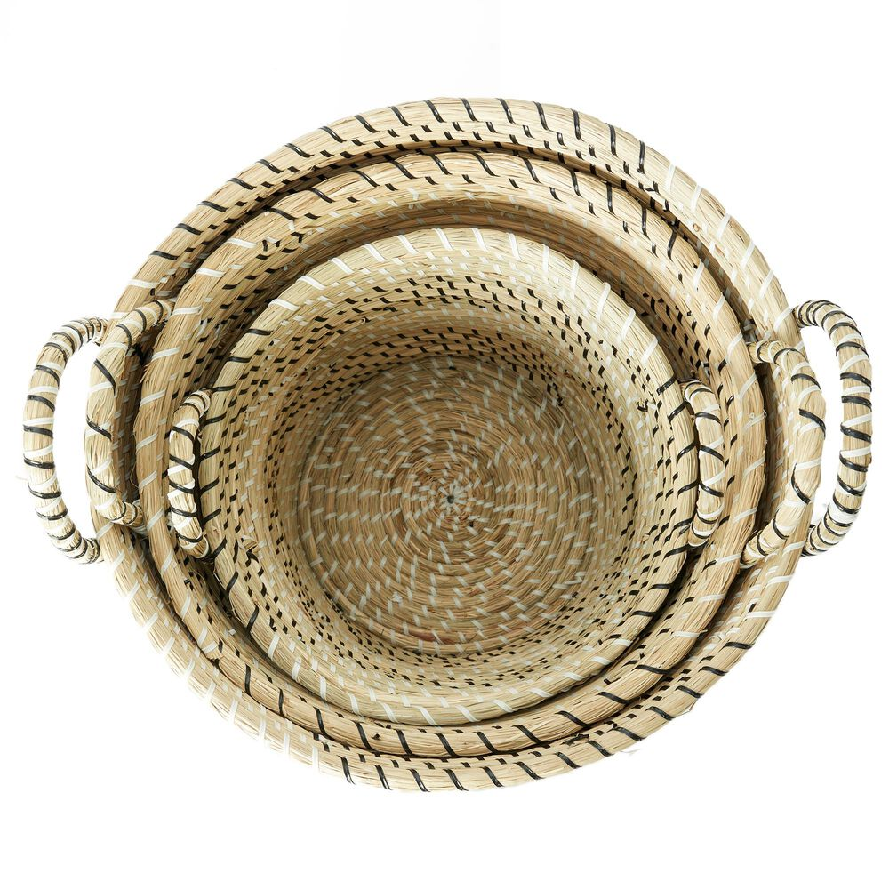 Maple and Jade Assorted Woven Basket in Beige (Set of 3), , large