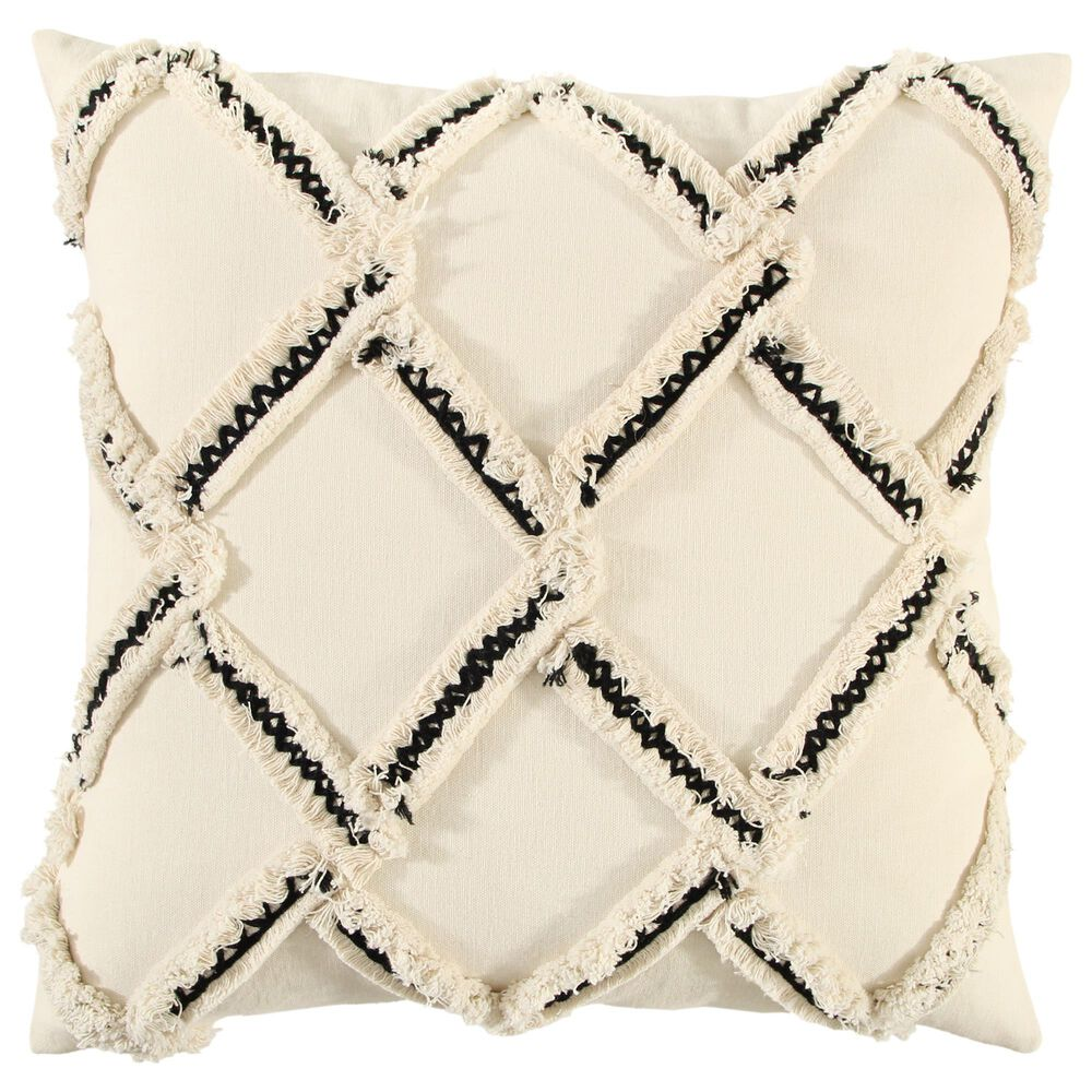 """Rizzy Home Geometric 18"""" Pillow in Natural, , large"""