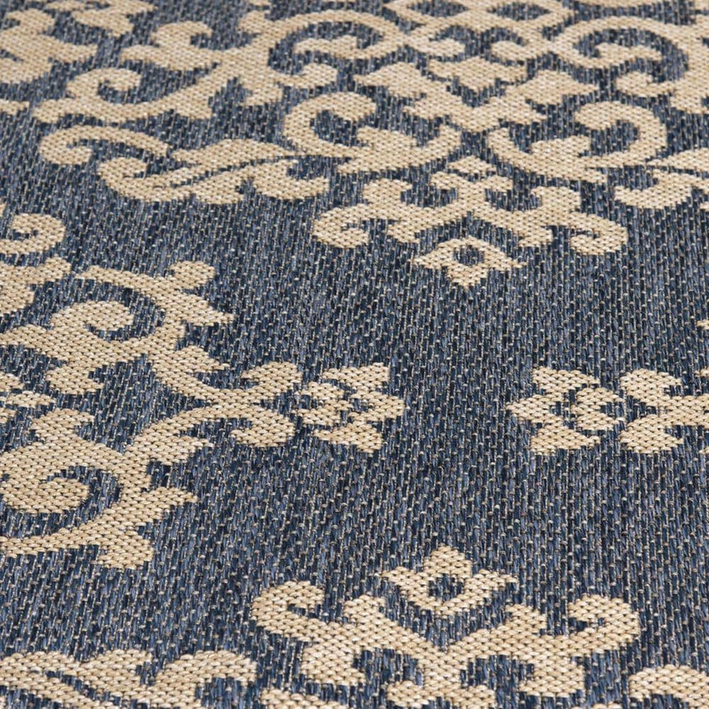 """Trisha Yearwood Rug Collection Gather Temptation TYWD 5'3"""" x 7'7"""" Cobalt and Natural Outdoor Rug, , large"""