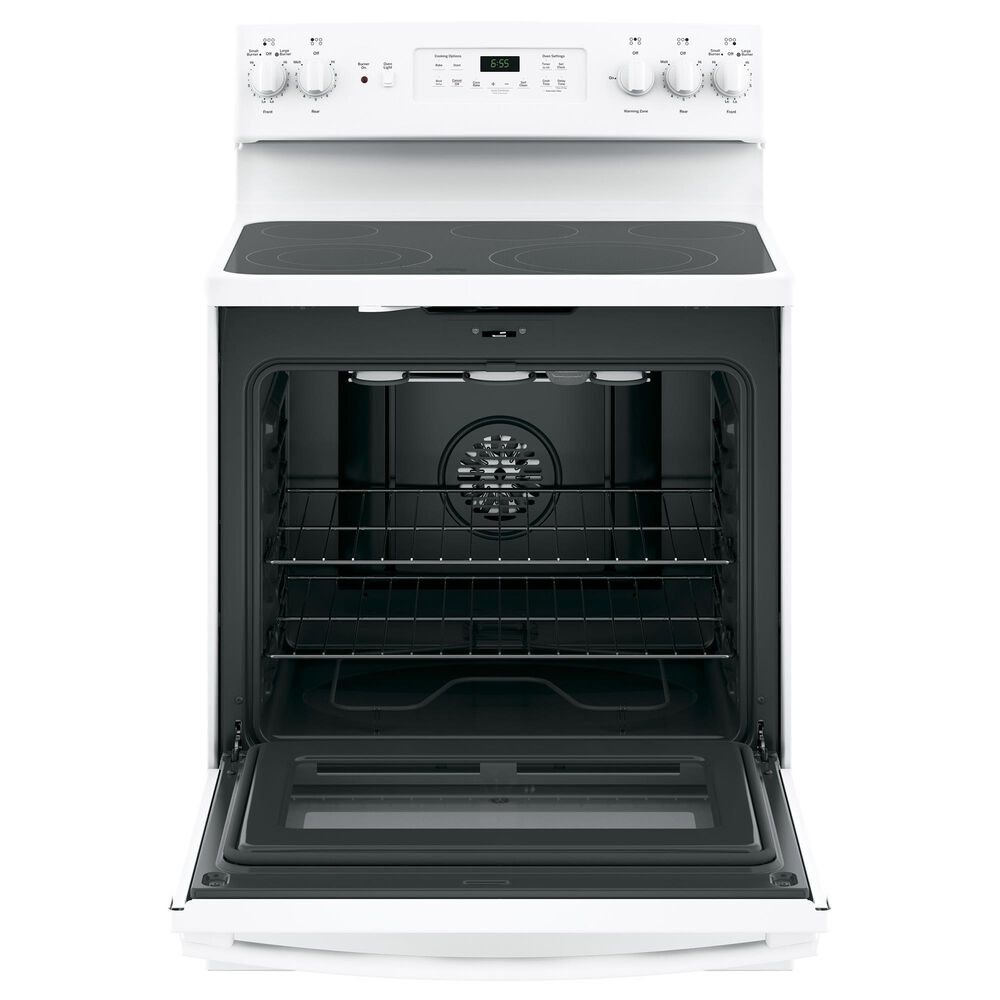 GE Appliances 2-Piece Kitchen Package with 30'' Electric Range and Sensor Microwave Oven in White, , large