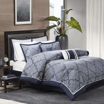 Goldstar Bedding Medina 8-Piece Queen Jacquard Comforter Set in Navy, , large