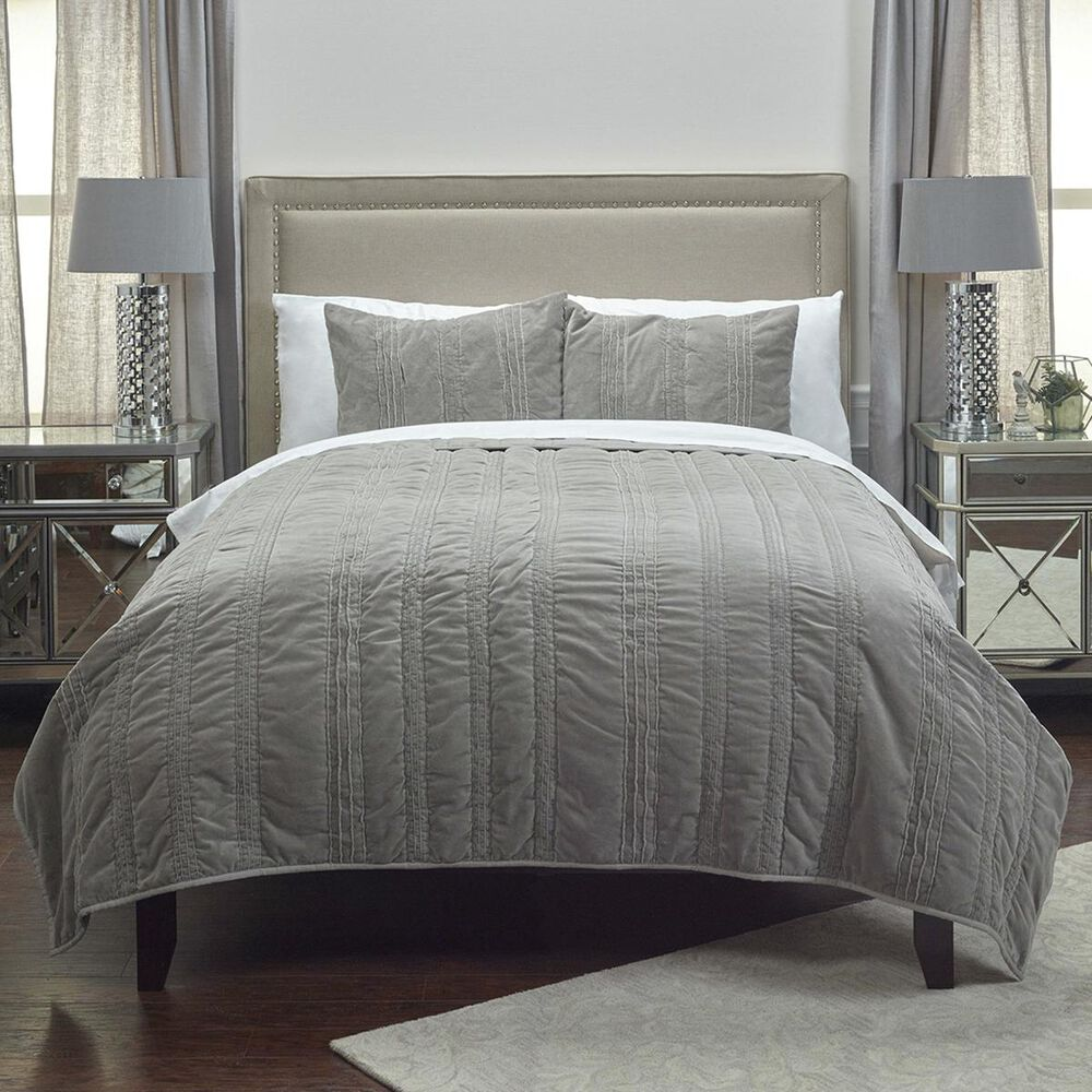 """Rizzy Home Mr. Grey 106"""" x 92"""" Quilt in Gray, , large"""