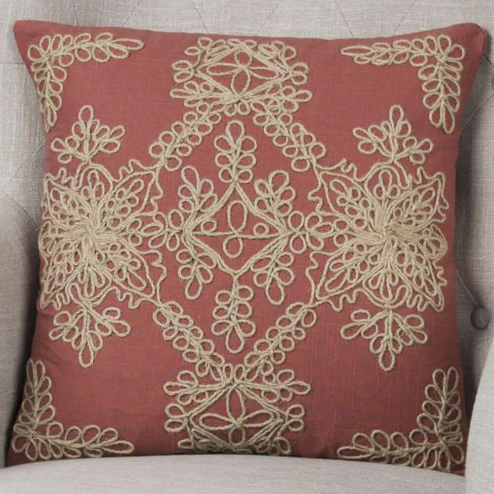 """Rizzy Home 18"""" x 18"""" Pillow Cover in Tan and Paprika, , large"""