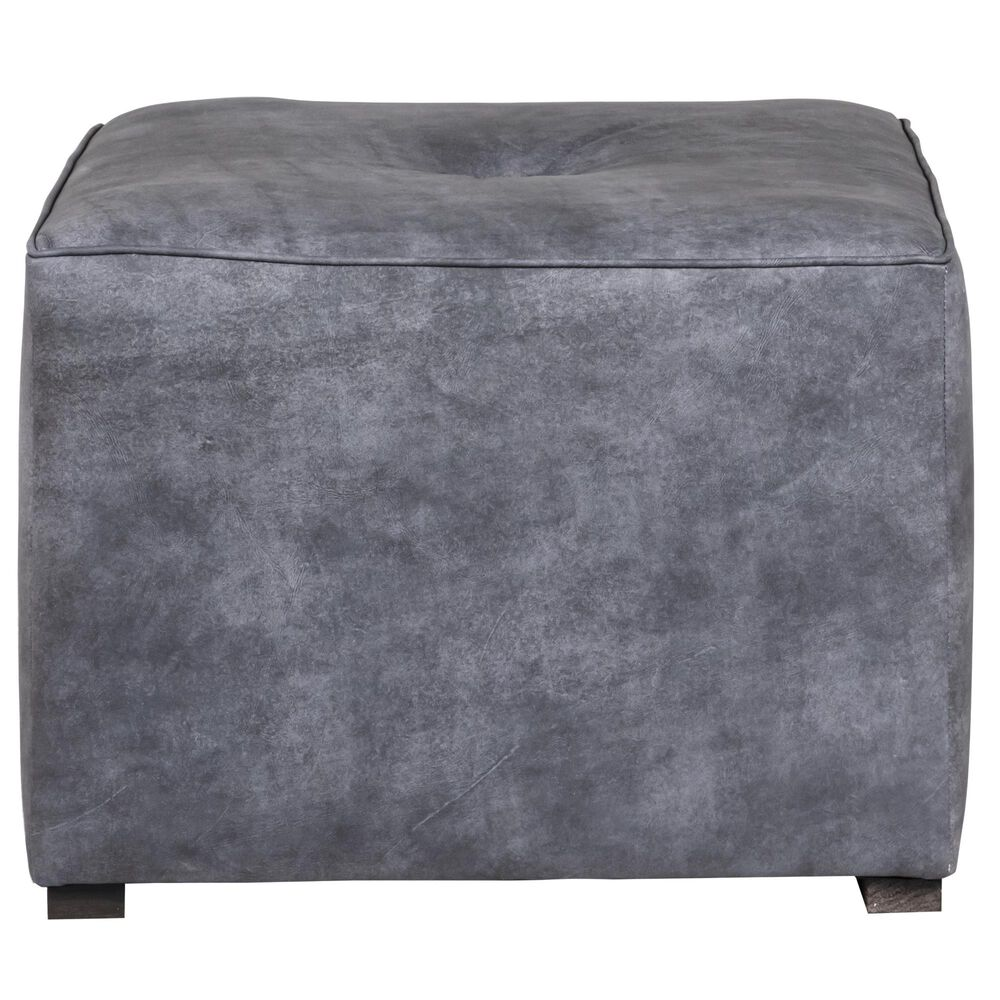 "Huntington House 24"" Ottoman in Blue-Gray Leather, , large"