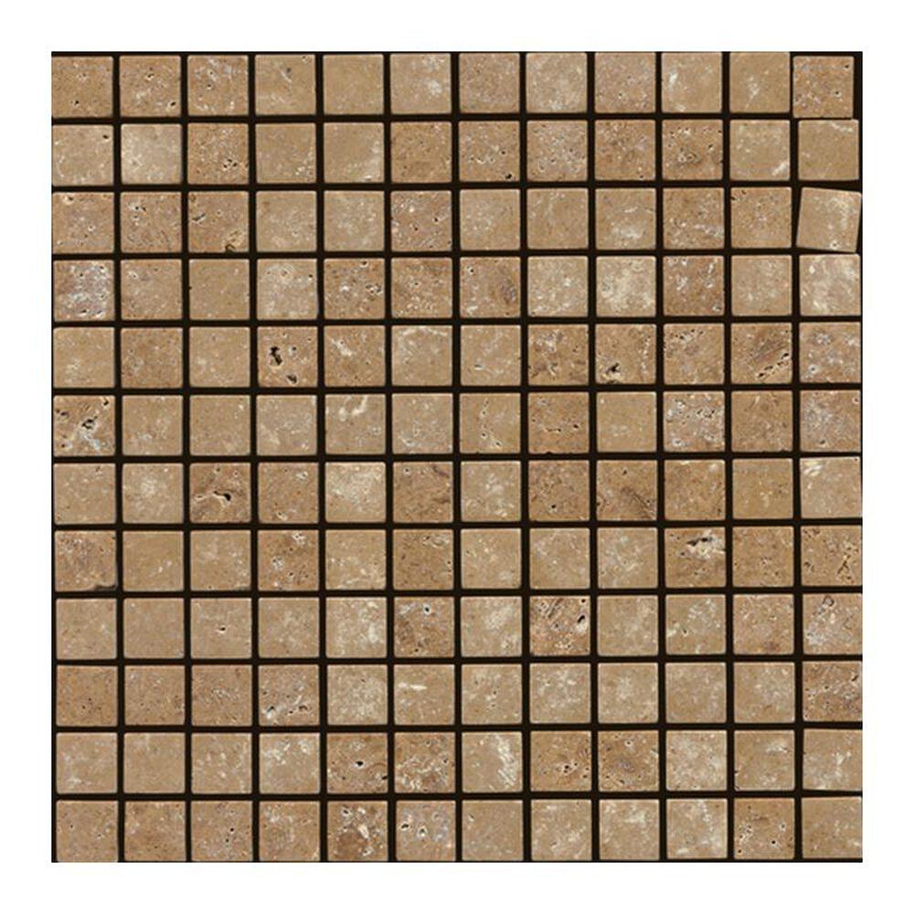 "Dal-Tile Travertine 2"" x 2"" Tumbled Mosaic Tile in Noce, , large"
