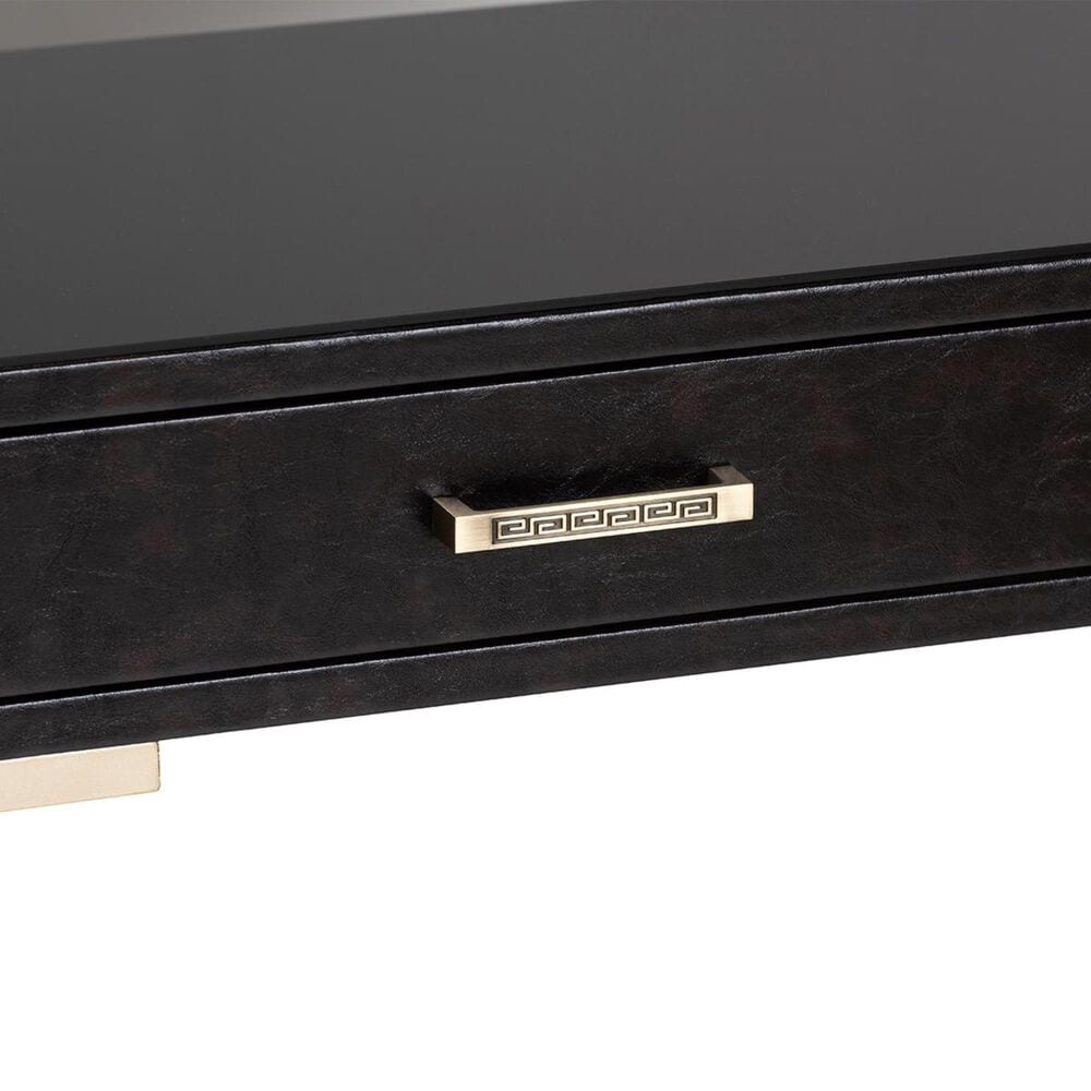 Baxton Studio Carville 2-Drawer Console Table in Dark Brown Faux Leather and Gold, , large