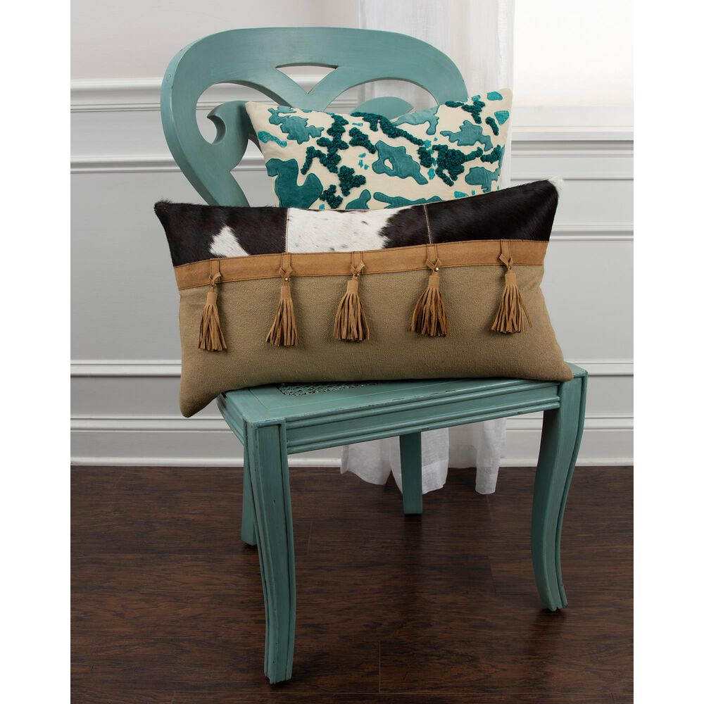 """Rizzy Home 20"""" Down Filled Pillow in Teal, , large"""