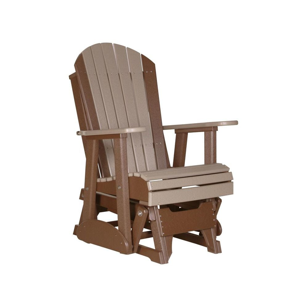 Amish Orchard 2' Adirondack Outdoor Glider in Weatherwood and Chestnut, , large