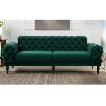 Jennifer Taylor Home Tappman Modern Button Tufted Velvet Sofa in Evergreen, , large