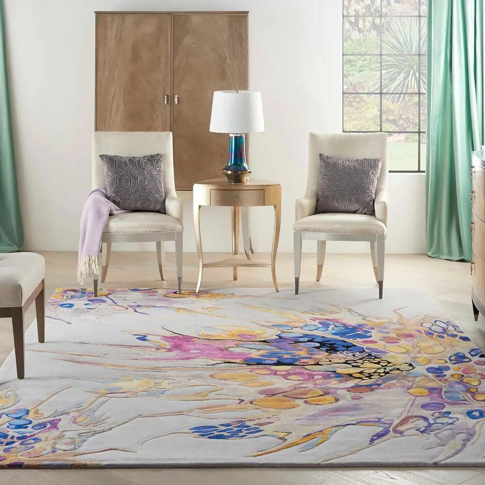 Nourison Prismatic PRS20 10' x 14' Grey and Lilac Area Rug, , large