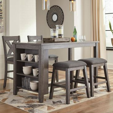 Signature Design by Ashley Caitbrook 5-Piece Counter Height Dining Set in Antiqued Gray Wash, , large