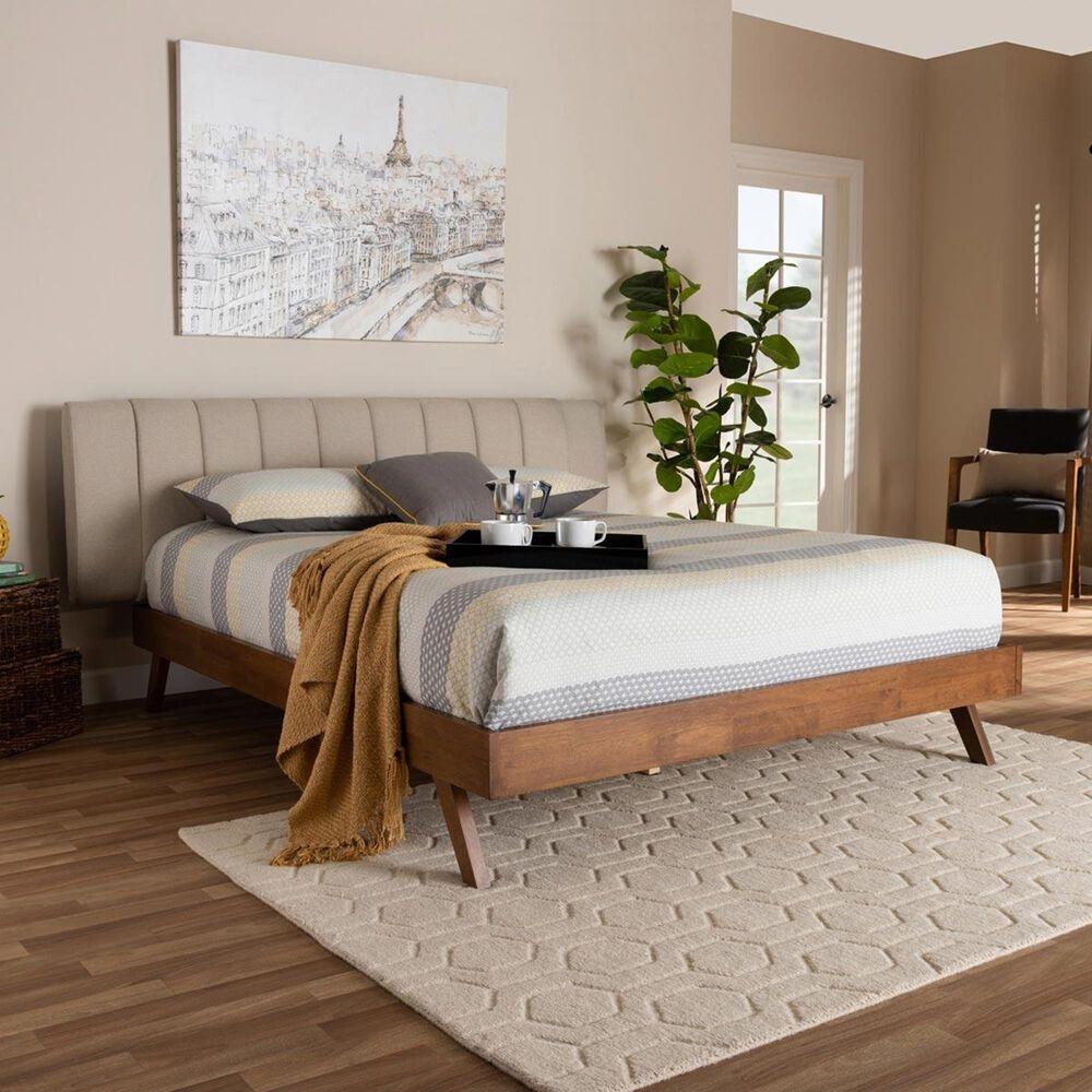 Baxton Studio Brita King Upholstered Bed in Light Beige/Walnut, , large