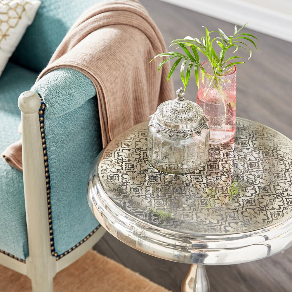 Maple and Jade Traditional Aluminum Accent Table in Silver, , large