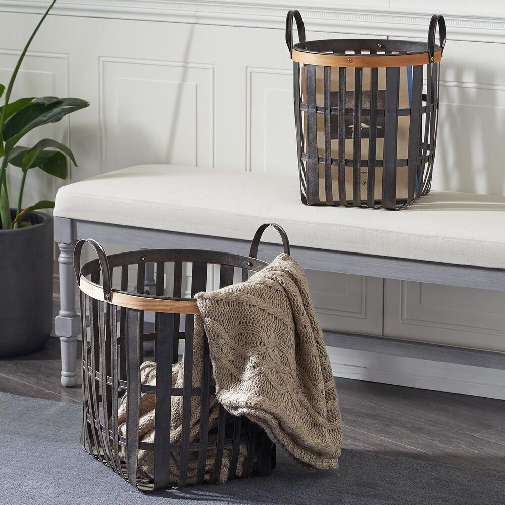 Maple and Jade Farmhouse Bamboo Storage Basket in Black Set of 2, , large