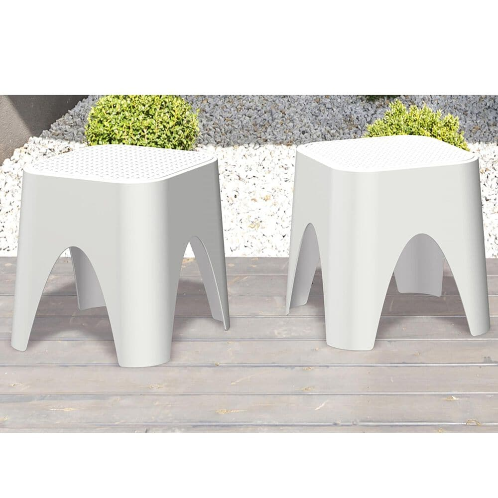 Lagoon Furniture Mallorca Stackable Rattan Top Coffee Table in White, , large