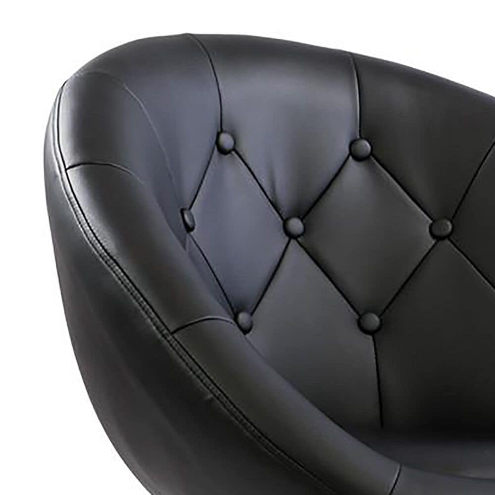 Impressions Vanity Antoinette Tufted Vanity Chair with Black Seat in Stainless Steel, , large
