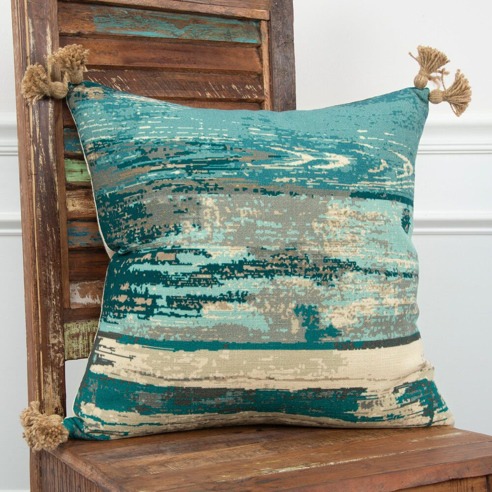 """Rizzy Home Abstract 20"""" Poly Filled Pillow in Teal/Natural, , large"""