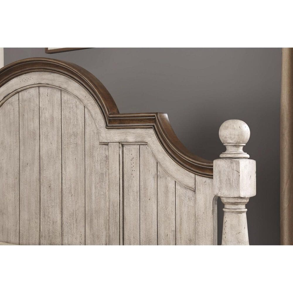 Flexsteel Plymouth Queen Poster Bed in Distressed Gray and White, , large