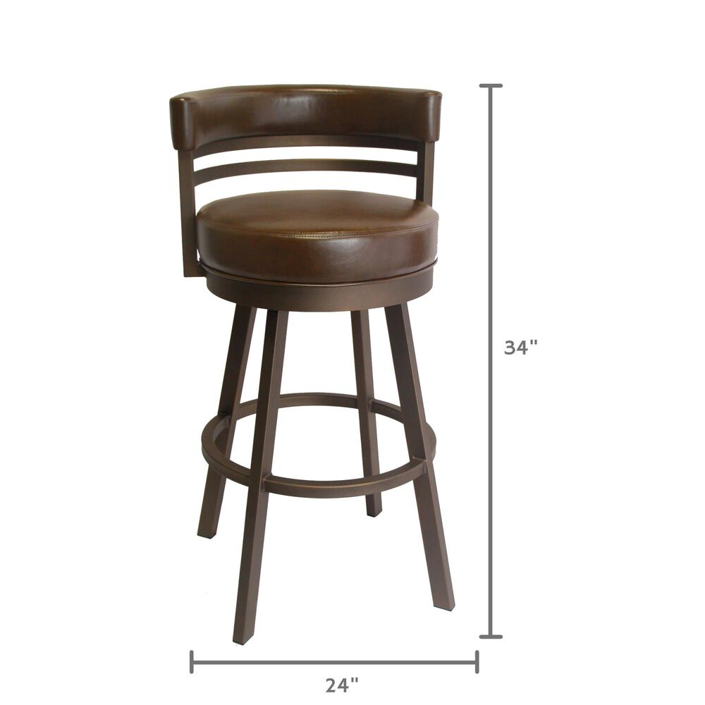 "Delaware Dining Ambridge 30"" Swivel Barstool in Sun Bronze/Dark Brown, , large"