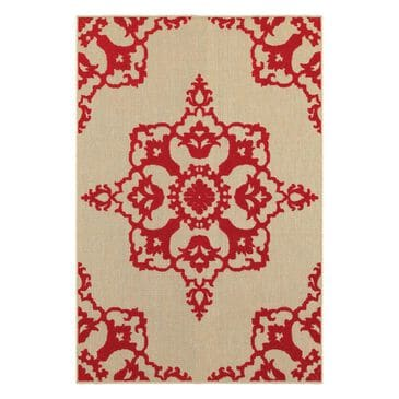 """Oriental Weavers Cayman 97R 3'10"""" x 5'5"""" Sand/Red Area Rug, , large"""