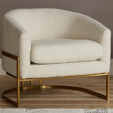 Joybird Nola Accent Chair in Cream and Brass Brushed Finish, , large