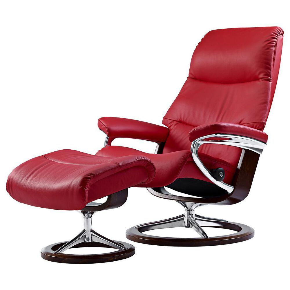 Ekornes View Small Chair and Ottoman with Brown Signature Base in Paloma Tomato, , large